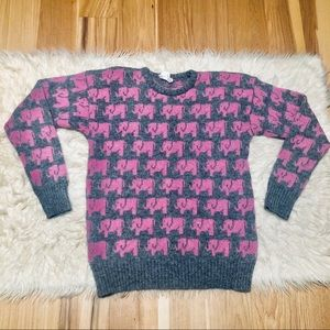Elephant Novelty Wool Sweater Vintage